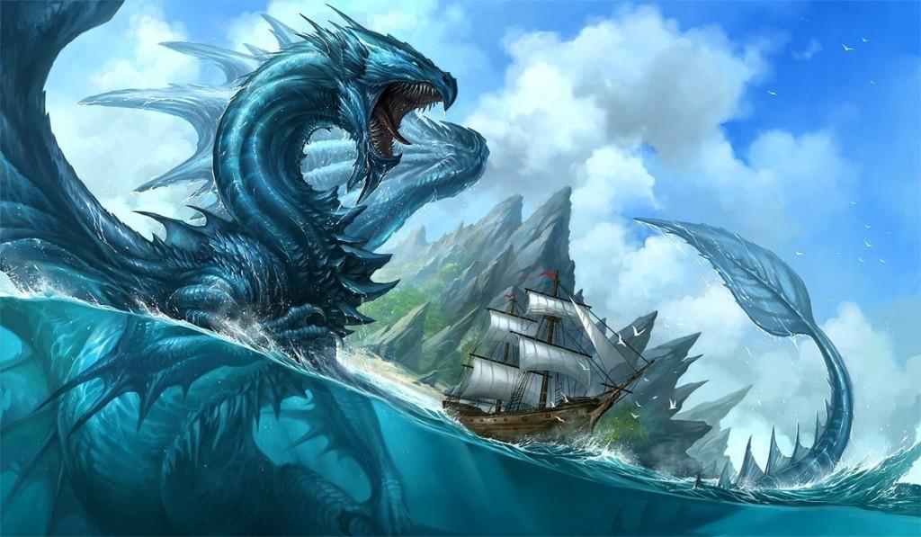морской дракон нападает на корабль