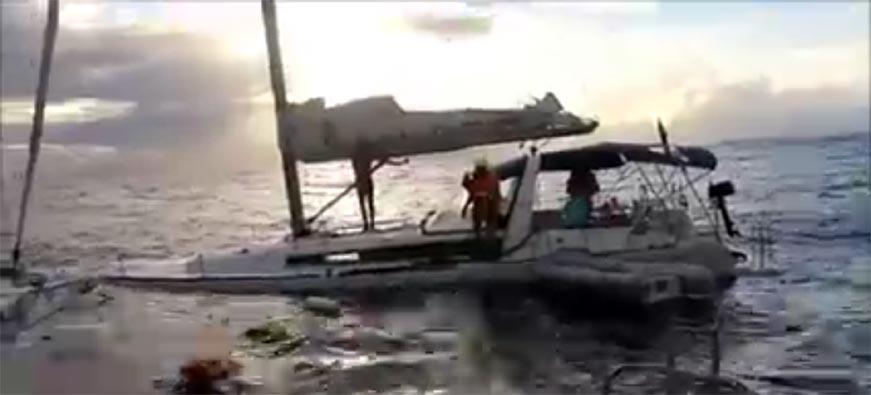 парусная яхта затонула на Антильских островах